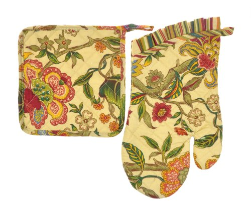 Euphoria Handmade Cotton Quilted Prints Oven Mitt Mitten And Kitchen Pot Holder Combo Set Kaleidoscope Flower Emerald Leafs front-420191