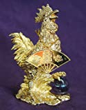 Brass Rooster with Fan and Amethyst Ball