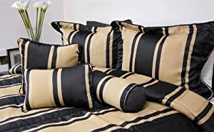 7pc Bed-in-a-Bag Nadia Black/Beigy Gold Comforter Set -- Size: king