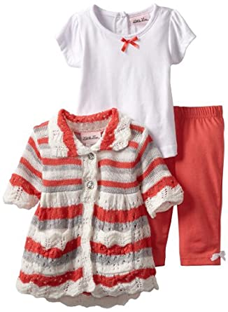 Little Lass Baby-Girls Infant 3 Piece Sweater Set with Pink Stripes, Coral, 24 Months