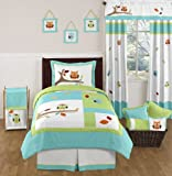 Turquoise and Lime Hooty Owl Childrens and Kids 4 Piece Boy or Girl Twin Bedding Set