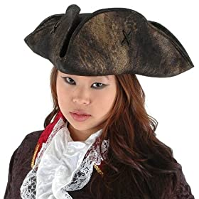 Scallywag Pirate Hat (Black) Adult Accessory