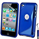 AOA CasesTM Apple Ipod Touch 4 4g 4th Generation S-Line Series Wave Hydro Gel Silicone Case Cover Skin Includes Screen Protector And Mini Stylus (iPod Touch 4 4th 4G, Dark Blue)