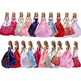 Teenitor 5pcs Handmade Fashion Wedding Party Gown Dresses & Clothes For Barbie Doll Xmas Gift Shipping By Fba
