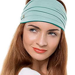 BLOM Multi-Style Headband for Sports or Fashion. Happy Head Guarantee - Super Comfortable. Two Tone: Light Green & Jade Green.
