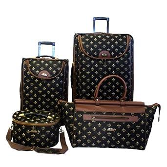 American Flyer Luggage Fleur De Lis 4 Piece Set, Black, One Size