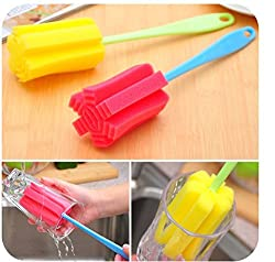 DELITE - Random Color - New Environmental Cleaning Brush For Bottle Glass Cup Cleaning Sponge Wonder Brush - set of 2 pcs
