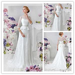com : Elegant Lace Muslim Wedding Dresses With Sleeves Unique Vestidos