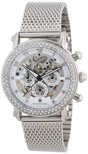 Constantin Durmont CD-POMP-AT-STM3-STSL-WHCR - Reloj analógico para mujer de acero inoxidable blanco