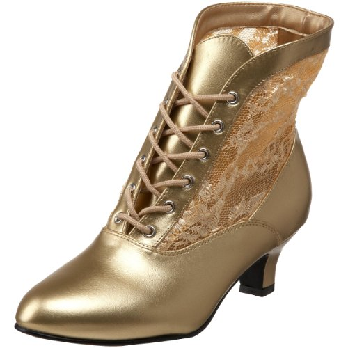 Funtasma by Pleaser Women's Dame-05 Ankle Boot,Gold Polyurethane,12 M US