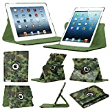 Stuff4 Camouflage Designed Leather Smart Case with 360 Degree Rotating Swivel Action and Free Screen Protector/Stylus Touch Pen for Apple iPad Mini/Mini Retina - Green