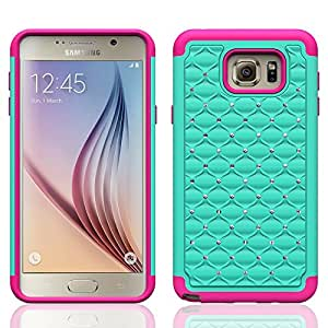 Samsung Galaxy Note 5 Case - Galaxy Wireless Hybrid Dual Layer Diamond Crystal Case for Samsung Galaxy Note 5 (Teal on Hot Pink Skin Diamond Hybrid)