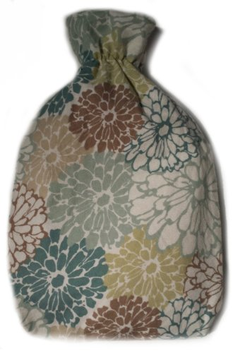 Warm Tradition Flower Garden Cotton Flannel Covered Hot Water Bottle - Bottle Made In Germany, Cover Made In Usa