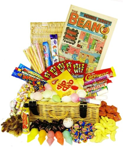 Retro Sweet Hamper with Retro Beano Comic and Free Replica Wonka Bar - Deluxe Sweet Hampers by BritishCandy
