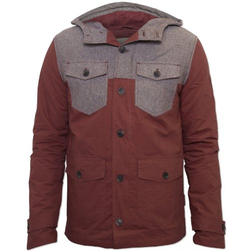 Bellfield Mens Red Hale Jacket Button Pockets Zip Red Medium