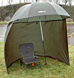 "88"" 2.2m BISON TOP TILT UMBRELLA BROLLY FISHING SHELTER WITH ZIP ON SIDES"