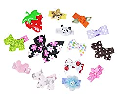 HipGirl Girls Mini Bow Tie, Mini Pinwheel Hair Bow Clips, Barrettes (14pc Baby Snap Clips--Multi)--Pattern May Vary