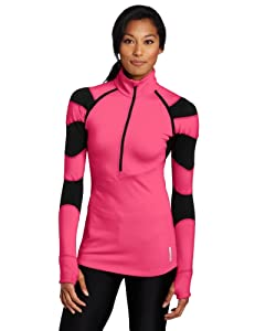 Asics Women's Cindy Half Zip Shirt, Fuschia, Small