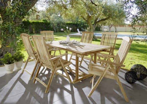 SAM-Teak-Holz-Garten-Gruppe-Gartenmbel-7tlg-Caracas-Balkon-Gruppe-bestehend-aus-1-x-Tisch-6-x-Stuhl-zusammenklappbare-Sthle-leicht-zu-verstauen