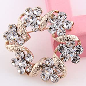 Celebrity Jewellery-Ladies Chic Fashion Wreath Rhinestone Gold Plated Flower Brooch for Wedding/Christmas B42