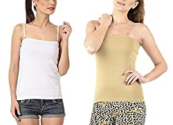 Lady Heart Women's White & Beige Cotton Spaghetti Camisole Free Size - S / M / L . Pack Combo of 2