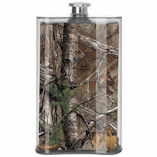 Real Real Tree Camo Flask Acrylic Camouflage Hunting Drink Gift 5Oz Slant (Multicolor)