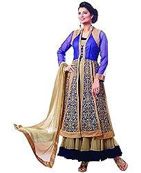 Shayona Women's Net Semi Stitched Dress Material_SSE722005SRK_Blue_Free Size