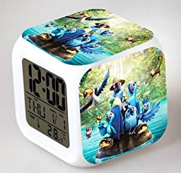 ENJOY LIFE : Cute Digital Multifunctional Alarm Clock With Glowing Led Lights and Rio Jewel sticker, Good Gift For Your Kids , Comes With Bonuses (01)