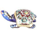 Rajgharana Handicrafts Multi Color Metal Meenakari Delightful Tortoise - (4 Cm X 7 Cm)