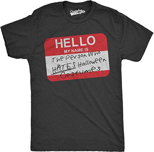 [Mens Hello Name Tag Person Who Hates Halloween Costumes Funny T shirt (Black) -XL] (Haloween Adult Costumes)