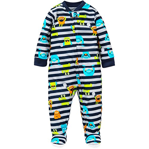 Little Me Baby Boys Monster Zip Footie Pajamas Footed Sleeper Navy Stripe 18M