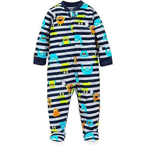 Little Me Baby Boys Monster Zip Footie Pajamas Footed Sleeper Navy Stripe 18M