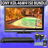 Sony Bravia W-Series KDL-46W4150 46in. 1080P LCD HDTV + Sony DVD Player Accessory Kit