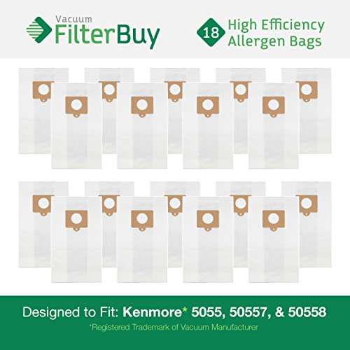 Find Discount 18 Kenmore Type C 5055, 50557 and 50558 Allergen Vacuum Cleaner Bags. Designed by Filt...