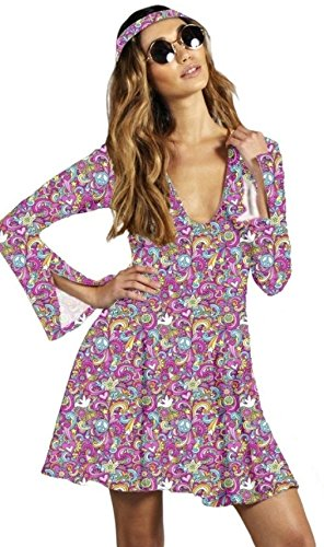 Psychedelic Plunge Neck Skater Dress with Matching Headpiece.
