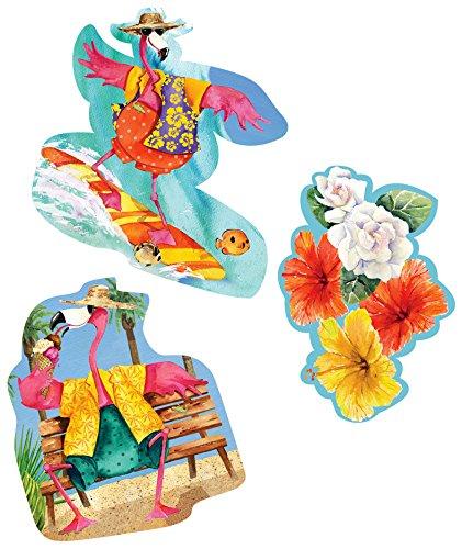 Creative Converting 3 Count Cutout Assortment, Flamingo Fun, Magenta/Yellow