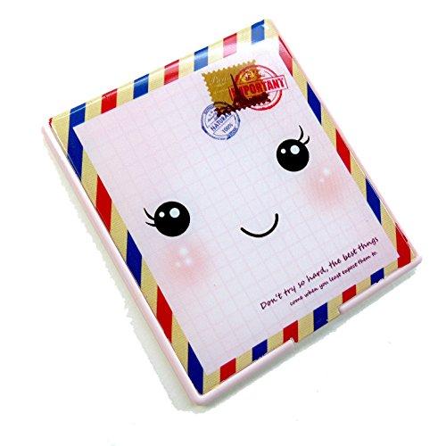 二つ折りファンシーコンパクトミラー 顔 封筒 CMー503