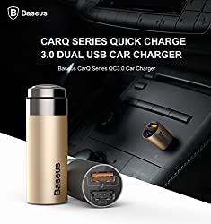 muskdeer original baseus carQ Series QC 3.0 Dual USB Car Charger And Fast Charging And Intelligent Adjustment And Efficient Charging WITH Dual Usb (LED Lights) Ports (SKY GRAY)