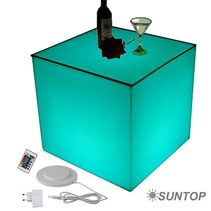 LED Design Cube Tischwurfel 50x50cm, Leuchtwurfel,Tisch, Beistelltisch, Lounge Möbel, Gartentisch mit Farbwechsel, Fernbedienung, Netz- und Akkubetrieb
