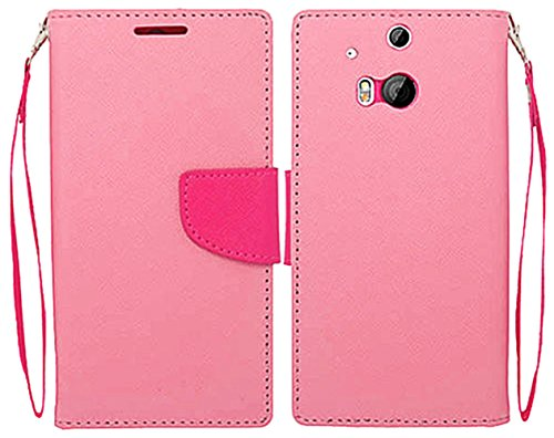 Mylife Bubblegum Pink And Hot Pink {Flat Color Design} Faux Leather (Card, Cash And Id Holder + Magnetic Closing) Slim Wallet For The All-New Htc One M8 Android Smartphone - Aka, 2Nd Gen Htc One (External Textured Synthetic Leather With Magnetic Clip + In