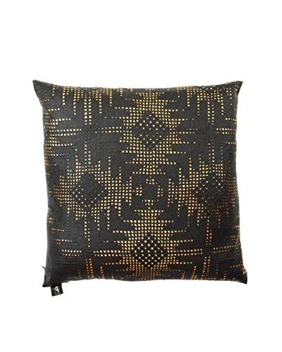 Aviva Stanoff Aztec Printed Vinyl Pillow, Black/Bronze