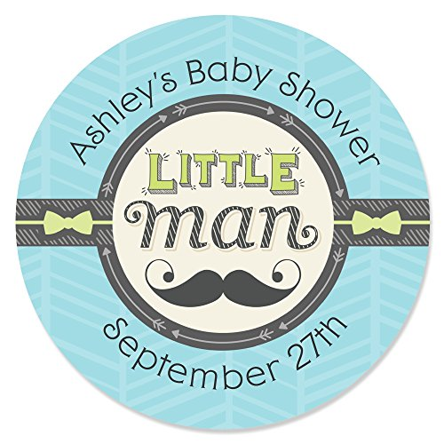 Custom Dashing Little Man - Personalized Mustache Themed Party Favor Circle Sticker Labels - Set of 24 (Dashing Little Man Baby Shower compare prices)