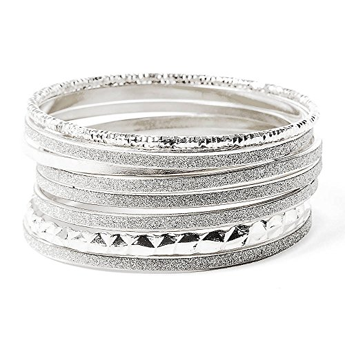 Claire'S Accessories Girls Silver Sandblasted, Texture And Shine Bangle Bracelets Set Of 8