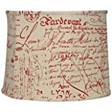 Red French Script Drum Shade 14x16x12 (Spider)