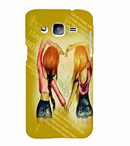 PrintVisa Stylish Cool Girl Friends Quote 3D Hard Polycarbonate Designer Back Case Cover for Samsung Galaxy J2