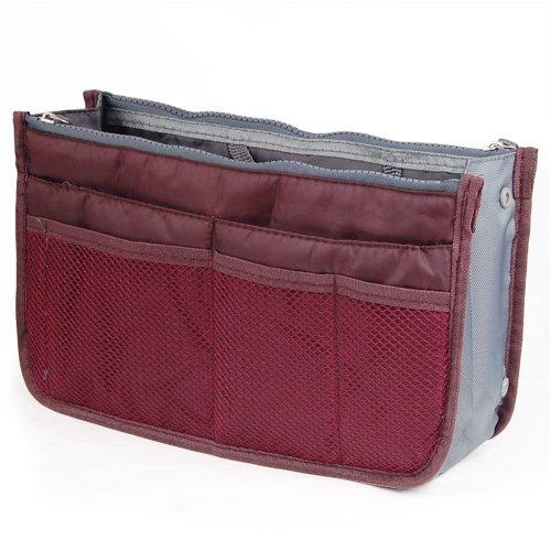 WMA Wine Red Handbag Pouch Bag in Bag Organiser Insert Organizer Tidy Travel Cosmetic Pocket