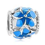 LovelyCharms Flower Charm Beads For European Bracelets (Blue)