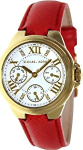 Michael Kors Camille Red Leather Multifunction Watch MK2321