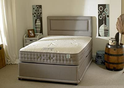 Happy Beds Natural Bamboo Divan Bed Set 2000 Pocket Sprung Memory Foam Mattress 2 Drawers End Jumbo Drawer Headboard