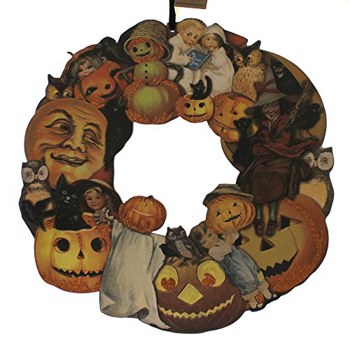 Halloween VINTAGE HALLOWEEN WREATH Wood Hang-Up Primitive Wood 18545